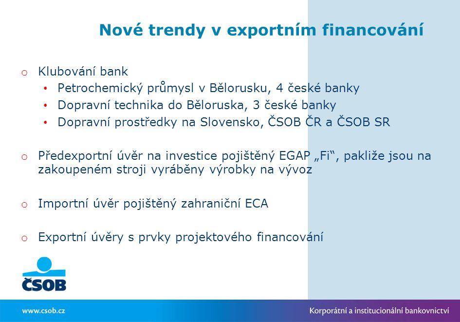 Nové trendy v exportním financování o Klubování bank Petrochemický průmysl v Bělorusku, 4 české banky Dopravní technika do Běloruska, 3 české banky Do