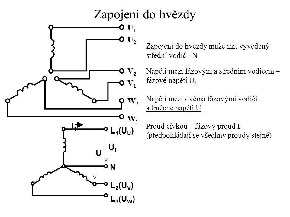 Vztah mezi fázovým a sdruženým napětím Sdružené napětí je dáno fázorovým součtem dvou fázových napětí L 1 (U U ) N L 2 (U V ) L 3 (U W ) UfUf U U UWUW UVUV U UVUV U UV 60 0 Výpočet sdruženého napětí U UV :