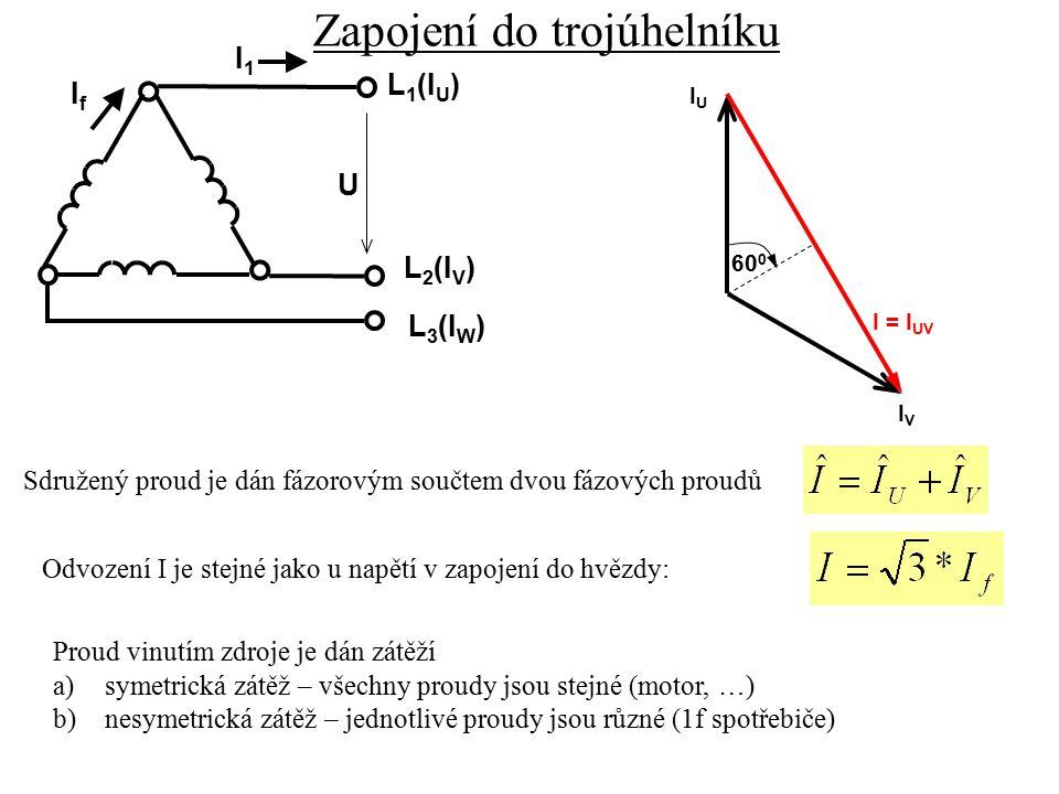 Zapojení do trojúhelníku L 3 (I W ) L 1 (I U ) L 2 (I V ) U I1I1 IfIf Sdružený proud je dán fázorovým součtem dvou fázových proudů Odvození I je stejn