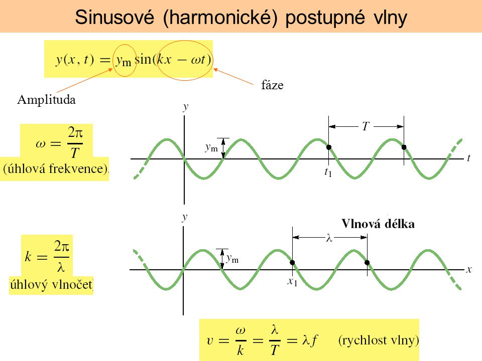 Amplituda fáze Sinusové (harmonické) postupné vlny