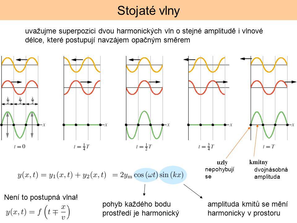 Stojaté vlny uvažujme superpozici dvou harmonických vln o stejné amplitudě i vlnové délce, které postupují navzájem opačným směrem nepohybují se dvojn