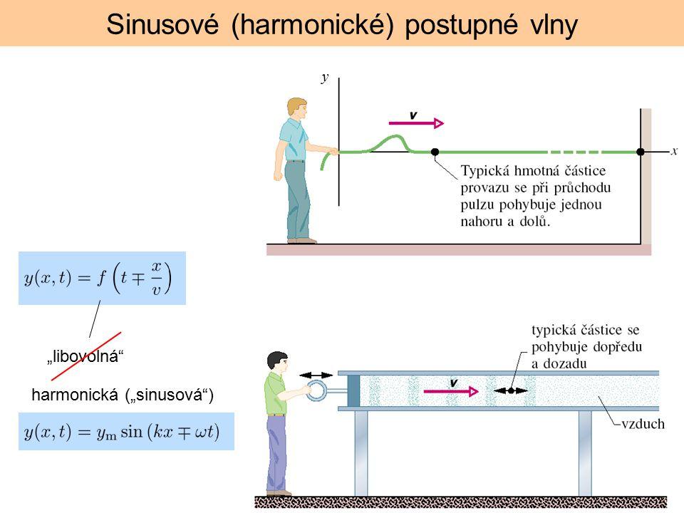 """""""libovolná"""" Sinusové (harmonické) postupné vlny harmonická (""""sinusová"""") y"""