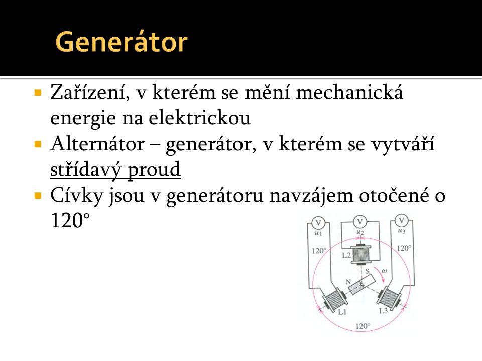  Zařízení, v kterém se mění mechanická energie na elektrickou  Alternátor – generátor, v kterém se vytváří střídavý proud  Cívky jsou v generátoru navzájem otočené o 120°