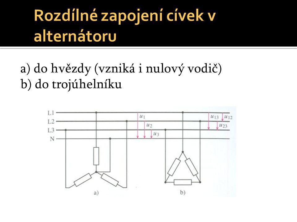 a) do hvězdy (vzniká i nulový vodič) b) do trojúhelníku