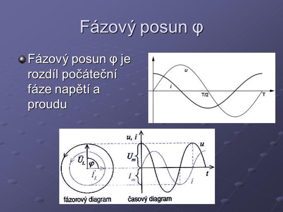 Fázový posun φ Fázový posun φ je rozdíl počáteční fáze napětí a proudu