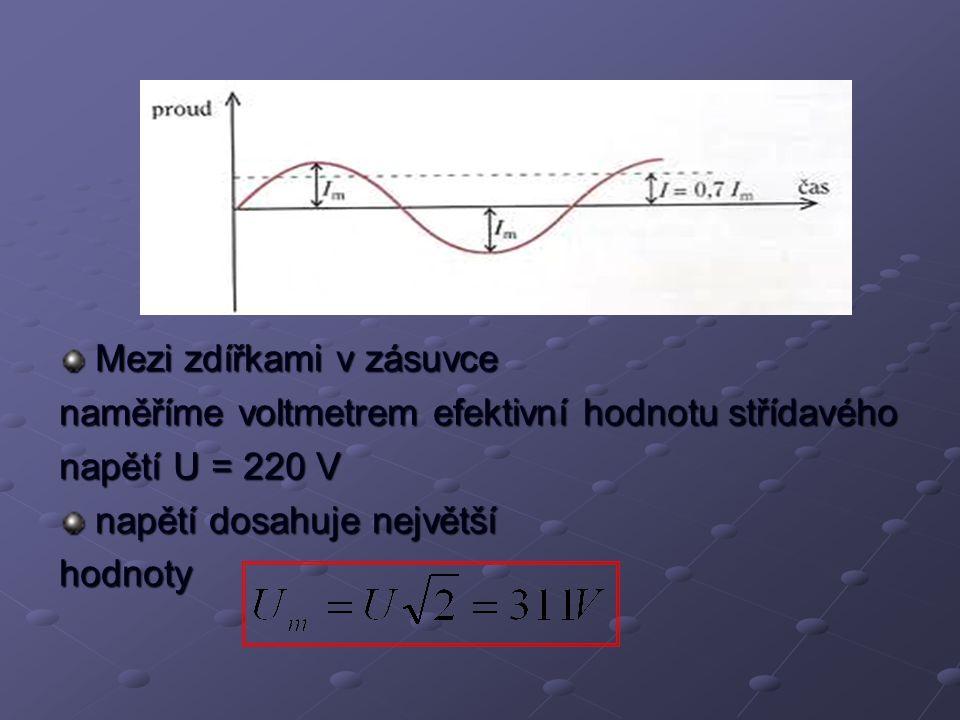 Mezi zdířkami v zásuvce naměříme voltmetrem efektivní hodnotu střídavého napětí U = 220 V napětí dosahuje největší hodnoty