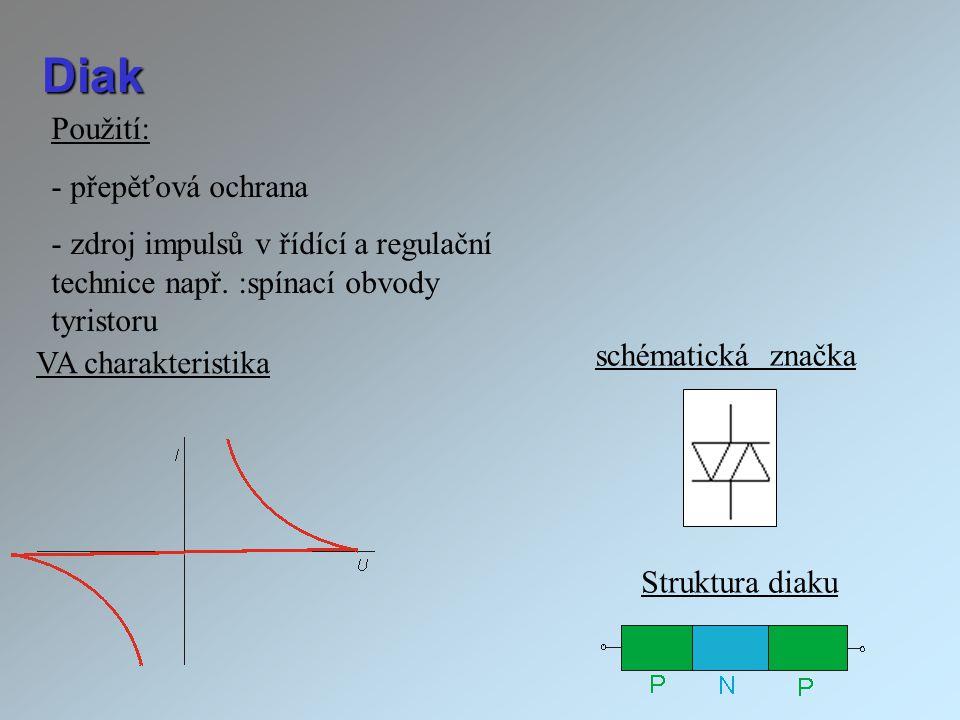 Diak Použití: - přepěťová ochrana - zdroj impulsů v řídící a regulační technice např. :spínací obvody tyristoru schématická značka VA charakteristika