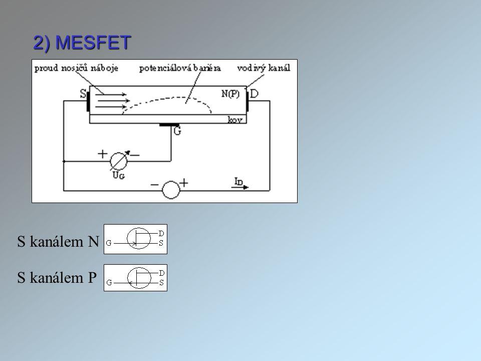 2) MESFET S kanálem N S kanálem P