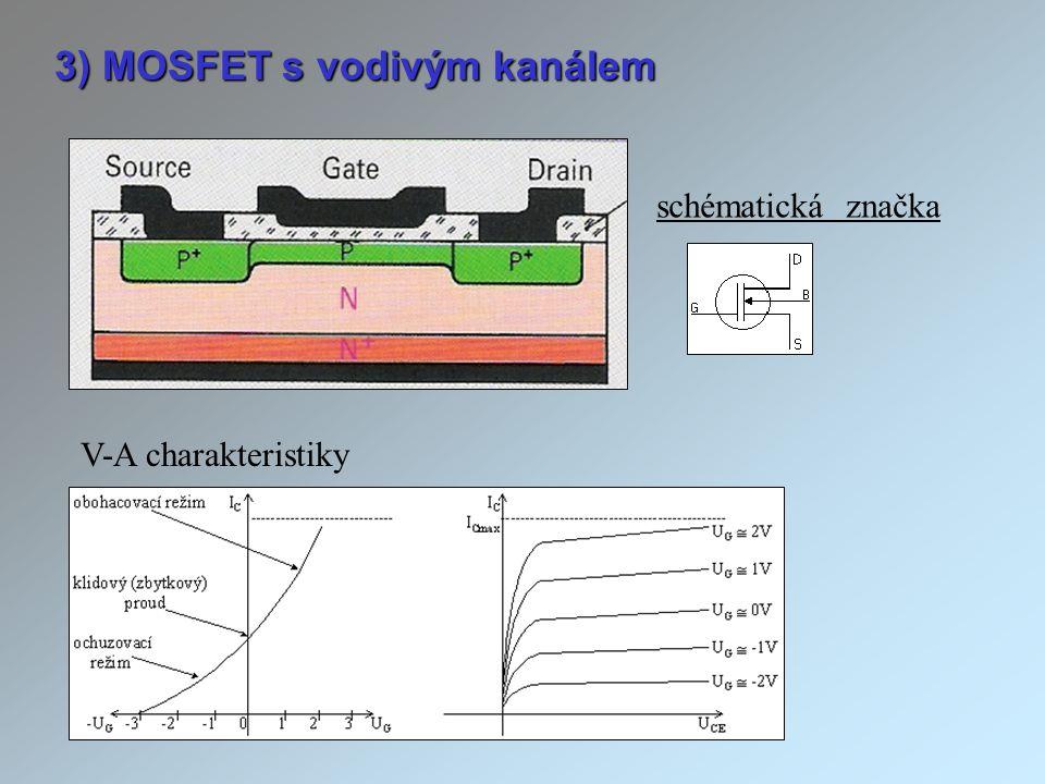 3) MOSFET s vodivým kanálem V-A charakteristiky schématická značka