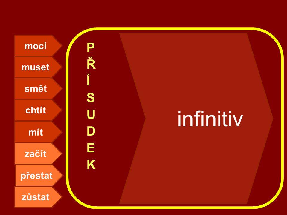 muset moci smět chtít mít zůstat přestat začít infinitiv