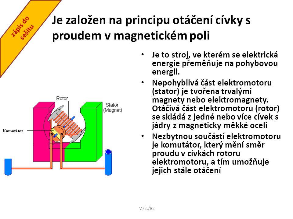 Je založen na principu otáčení cívky s proudem v magnetickém poli V./2./82 Je to stroj, ve kterém se elektrická energie přeměňuje na pohybovou energii