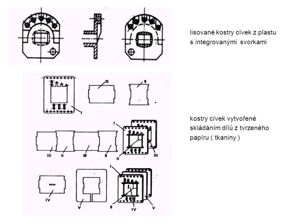lisované kostry cívek z plastu s integrovanými svorkami kostry cívek vytvořené skládáním dílů z tvrzeného papíru ( tkaniny )
