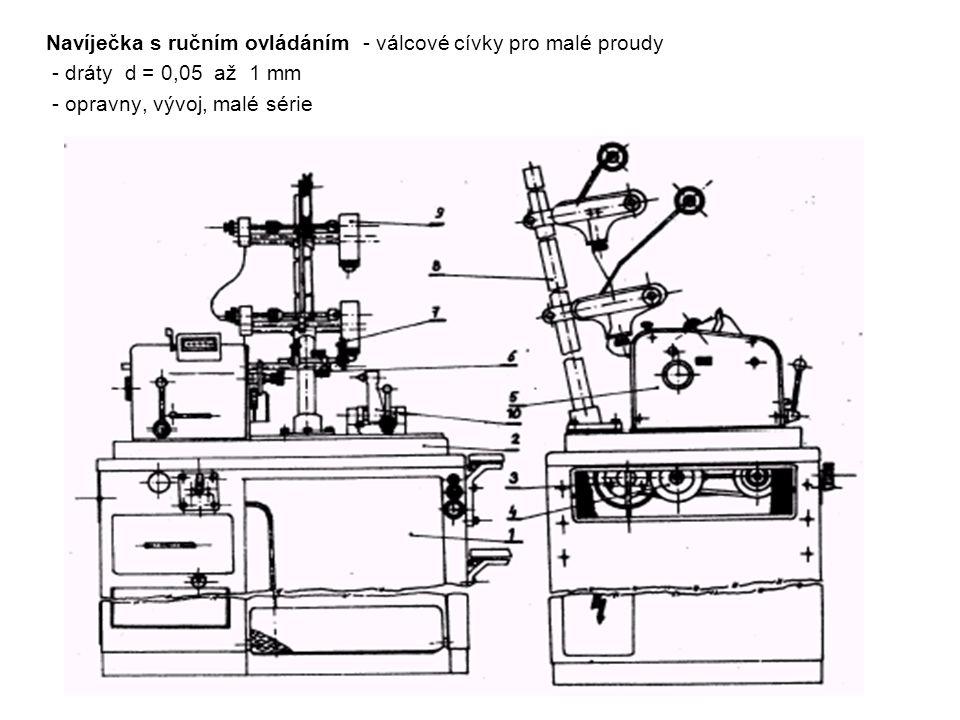 Navíječka s ručním ovládáním - válcové cívky pro malé proudy - dráty d = 0,05 až 1 mm - opravny, vývoj, malé série