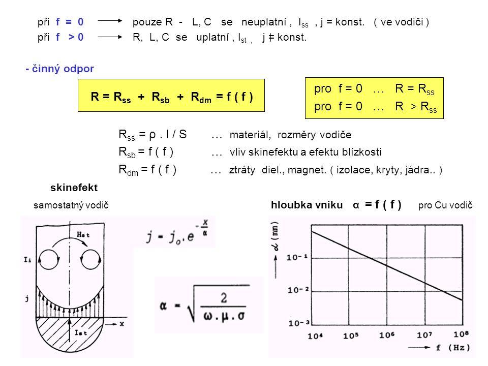 při f = 0 pouze R - L, C se neuplatní, I ss, j = konst.