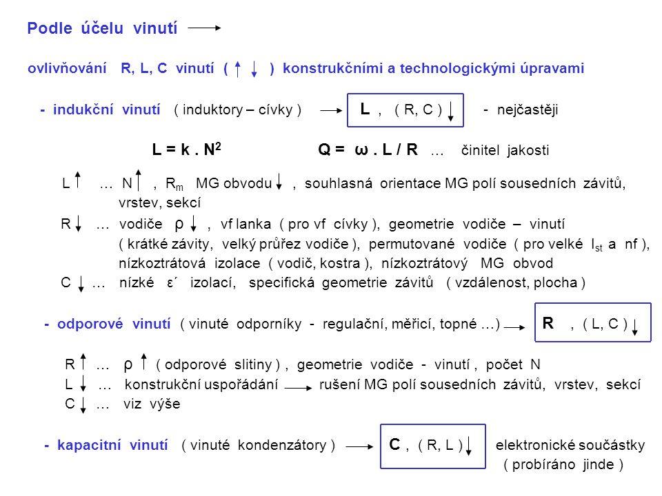 Podle účelu vinutí ovlivňování R, L, C vinutí ( ) konstrukčními a technologickými úpravami - indukční vinutí ( induktory – cívky ) L, ( R, C ) - nejčastěji L = k.
