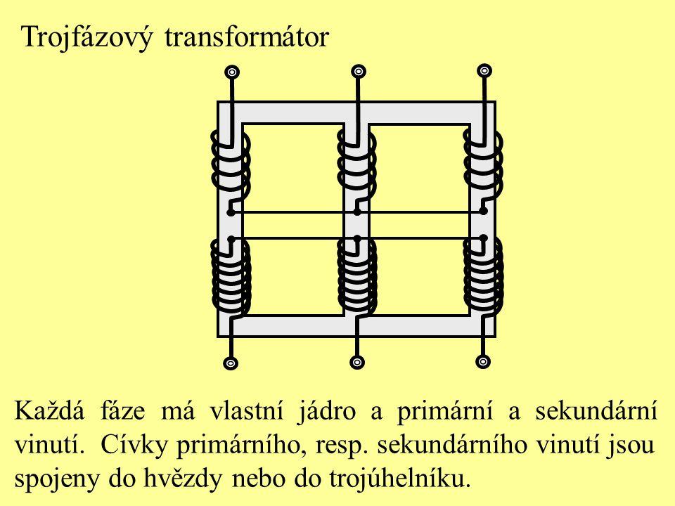 Trojfázový transformátor Každá fáze má vlastní jádro a primární a sekundární vinutí. Cívky primárního, resp. sekundárního vinutí jsou spojeny do hvězd