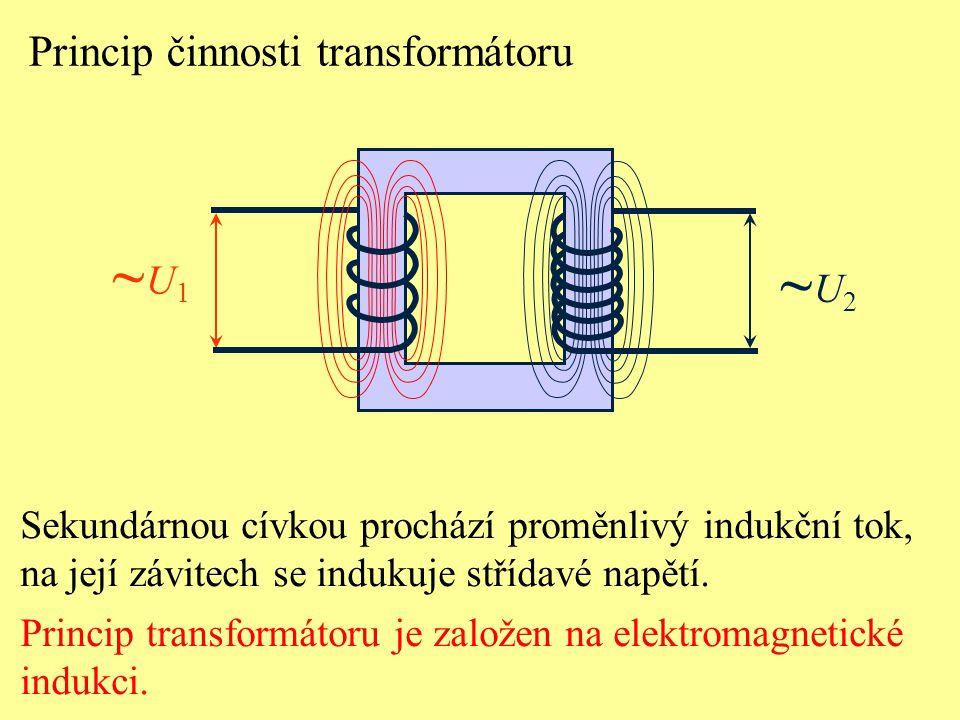 Princip činnosti transformátoru ~U1~U1 Sekundárnou cívkou prochází proměnlivý indukční tok, na její závitech se indukuje střídavé napětí. Princip tran