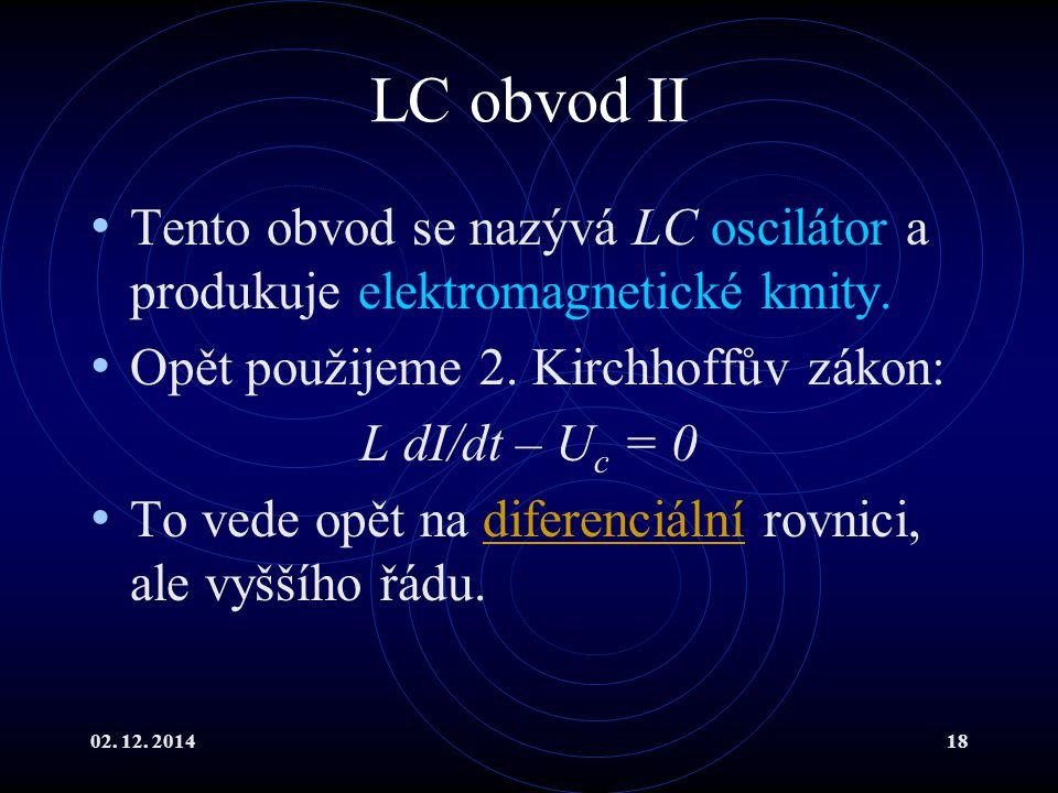 02.12. 201418 LC obvod II Tento obvod se nazývá LC oscilátor a produkuje elektromagnetické kmity.