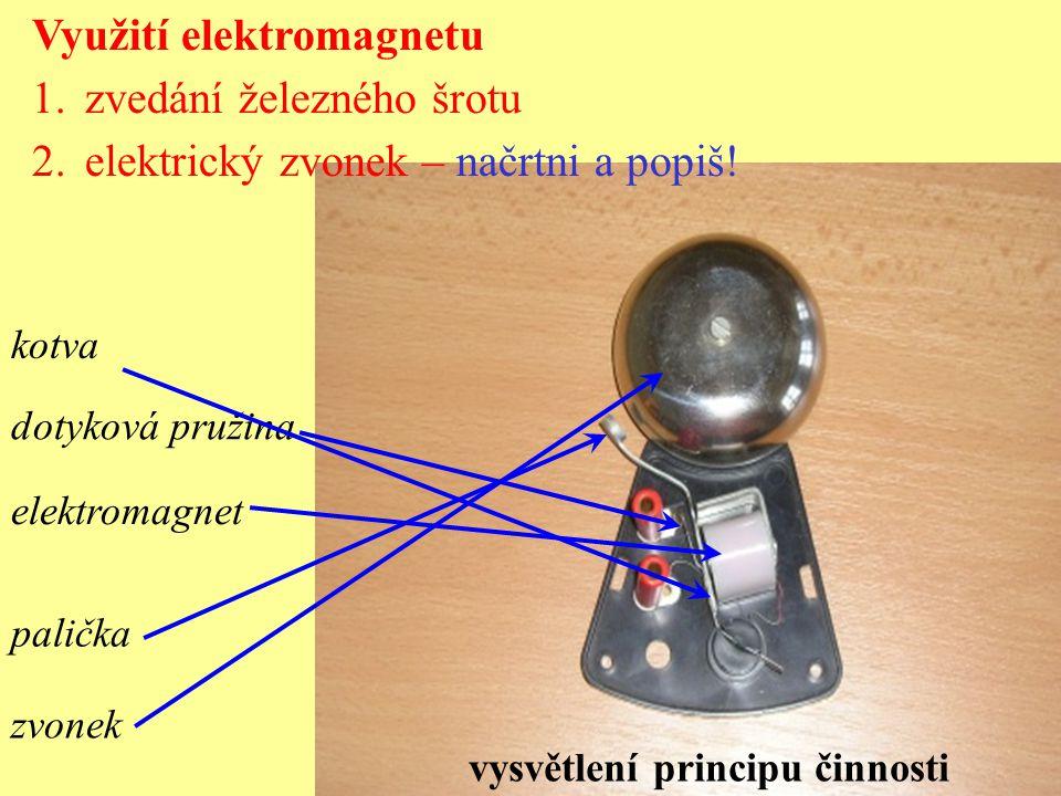 palička zvonek kotva dotyková pružina elektromagnet Využití elektromagnetu 1.zvedání železného šrotu 2.elektrický zvonek – načrtni a popiš.
