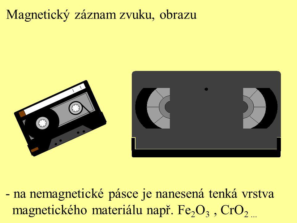 Magnetický záznam zvuku, obrazu - na nemagnetické pásce je nanesená tenká vrstva magnetického materiálu např. Fe 2 O 3, CrO 2...