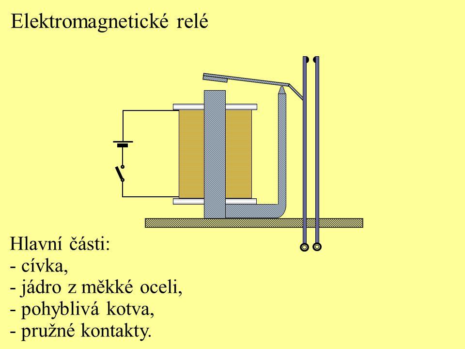 Činnost elektromagnetického relé: - sepnutím obvodu se vytvoří magnetické pole v cívce.