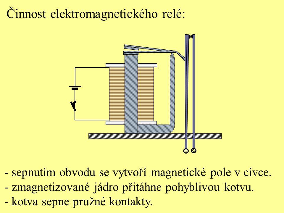 Činnost elektromagnetického relé: - sepnutím obvodu se vytvoří magnetické pole v cívce. - zmagnetizované jádro přitáhne pohyblivou kotvu. - kotva sepn