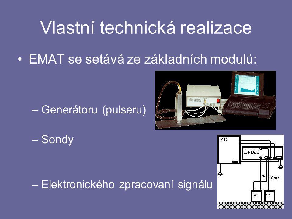 Vlastní technická realizace EMAT se setává ze základních modulů: –Generátoru (pulseru) –Sondy –Elektronického zpracovaní signálu