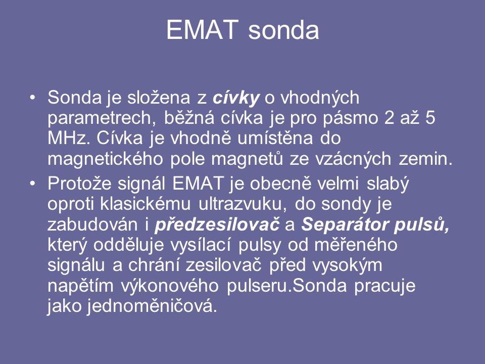 EMAT sonda Sonda je složena z cívky o vhodných parametrech, běžná cívka je pro pásmo 2 až 5 MHz. Cívka je vhodně umístěna do magnetického pole magnetů