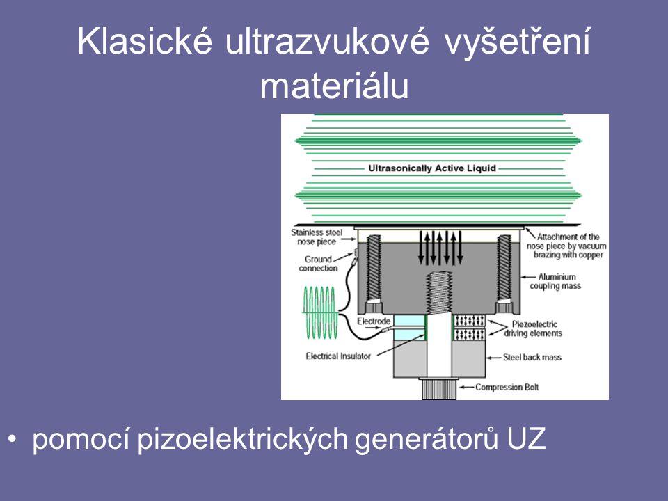 Klasické ultrazvukové vyšetření materiálu pomocí pizoelektrických generátorů UZ