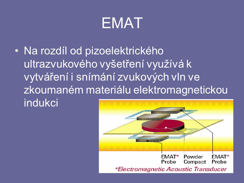 EMAT Na rozdíl od pizoelektrického ultrazvukového vyšetření využívá k vytváření i snímání zvukových vln ve zkoumaném materiálu elektromagnetickou indu