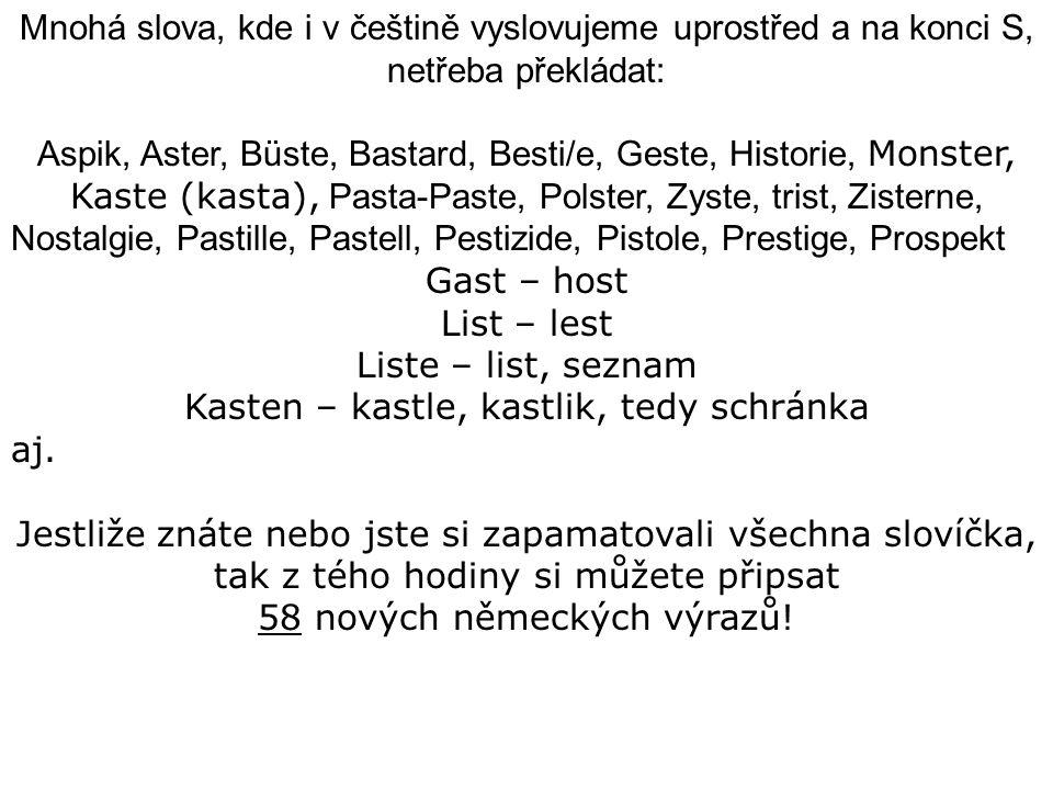 Mnohá slova, kde i v češtině vyslovujeme uprostřed a na konci S, netřeba překládat: Aspik, Aster, Büste, Bastard, Besti/e, Geste, Historie, Monster, Kaste (kasta), Pasta-Paste, Polster, Zyste, trist, Zisterne, Nostalgie, Pastille, Pastell, Pestizide, Pistole, Prestige, Prospekt Gast – host List – lest Liste – list, seznam Kasten – kastle, kastlik, tedy schránka aj.
