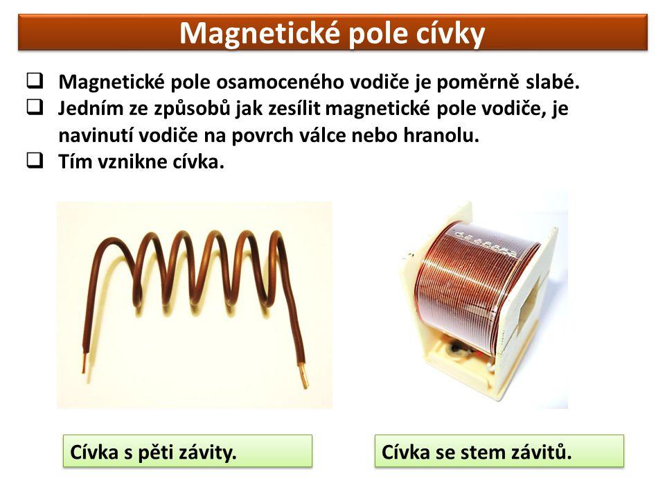  Magnetické pole osamoceného vodiče je poměrně slabé.  Jedním ze způsobů jak zesílit magnetické pole vodiče, je navinutí vodiče na povrch válce nebo