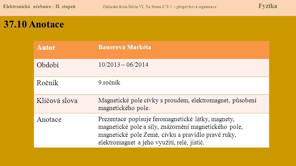Elektronická učebnice - II. stupeň Základní škola Děčín VI, Na Stráni 879/2 – příspěvková organizace Fyzika 37.10 Anotace Autor Bauerová Markéta Obdob