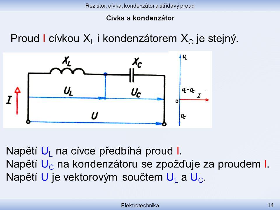 Rezistor, cívka, kondenzátor a střídavý proud Elektrotechnika 14 Proud I cívkou X L i kondenzátorem X C je stejný. Napětí U L na cívce předbíhá proud