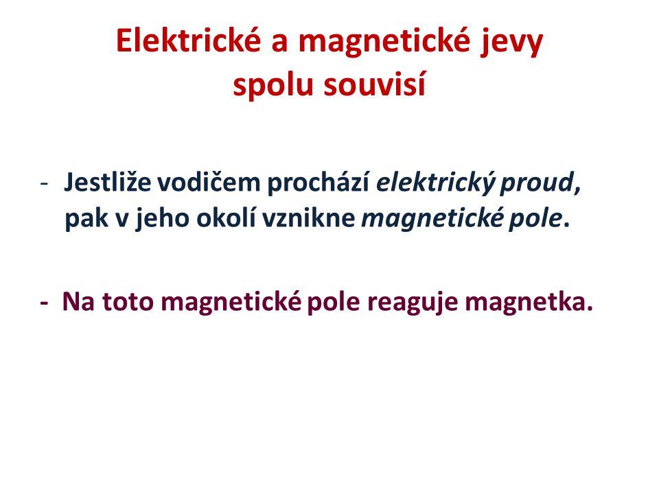 Elektrické a magnetické jevy spolu souvisí -Jestliže vodičem prochází elektrický proud, pak v jeho okolí vznikne magnetické pole. - Na toto magnetické