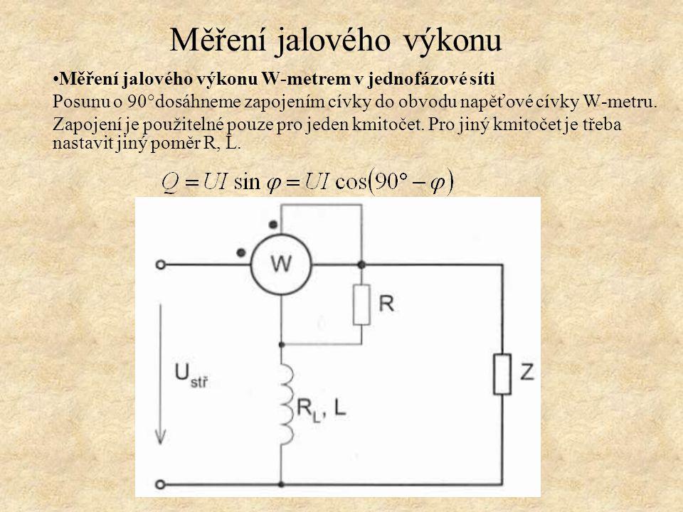 Měření jalového výkonu W-metrem v jednofázové síti Posunu o 90°dosáhneme zapojením cívky do obvodu napěťové cívky W-metru. Zapojení je použitelné pouz