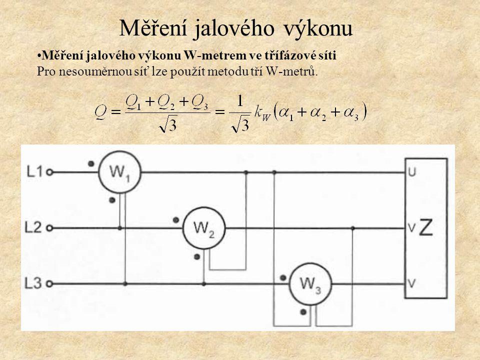 Měření jalového výkonu W-metrem ve třífázové síti Pro nesouměrnou síť lze použít metodu tří W-metrů. Měření jalového výkonu
