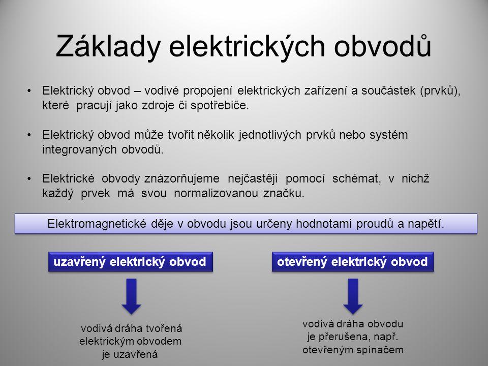 Základy elektrických obvodů Elektrický obvod – vodivé propojení elektrických zařízení a součástek (prvků), které pracují jako zdroje či spotřebiče. El