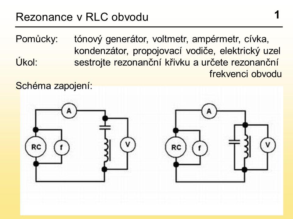 1 Rezonance v RLC obvodu Pomůcky: tónový generátor, voltmetr, ampérmetr, cívka, kondenzátor,propojovací vodiče, elektrický uzel Úkol:sestrojte rezonanční křivku a určete rezonanční frekvenci obvodu Schéma zapojení: