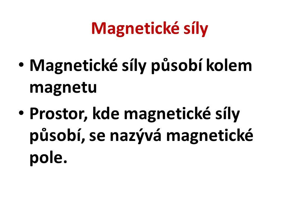Magnetické síly Magnetické síly působí kolem magnetu Prostor, kde magnetické síly působí, se nazývá magnetické pole.