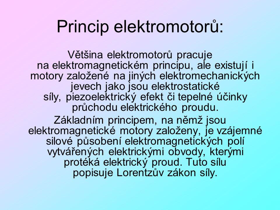 Princip elektromotorů: Většina elektromotorů pracuje na elektromagnetickém principu, ale existují i motory založené na jiných elektromechanických jeve