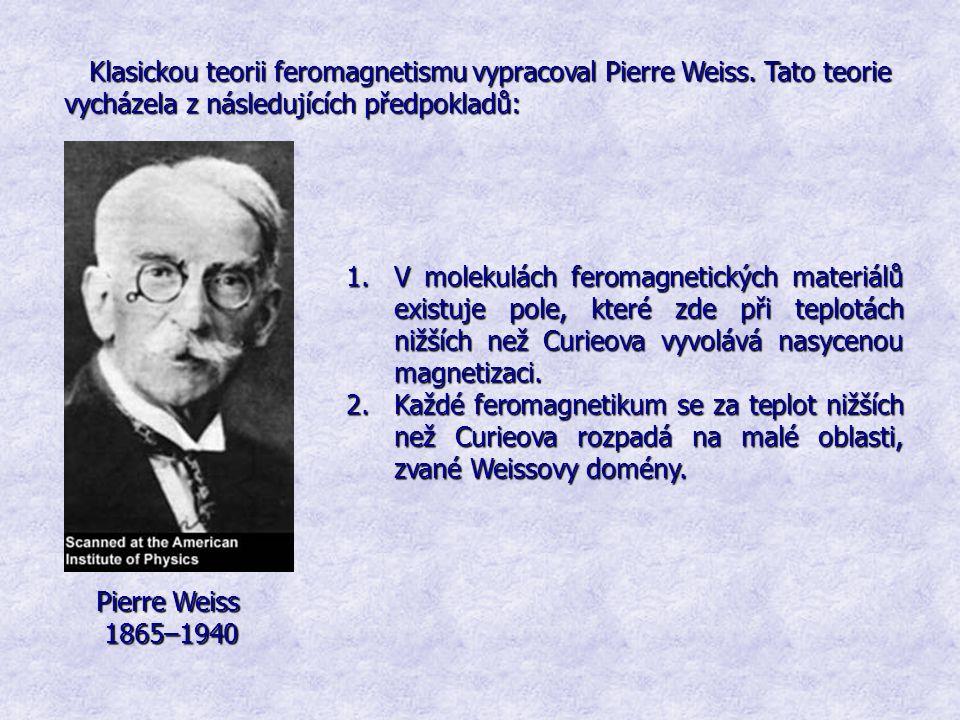 Klasickou teorii feromagnetismu vypracoval Pierre Weiss. Tato teorie vycházela z následujících předpokladů: 1.V molekulách feromagnetických materiálů