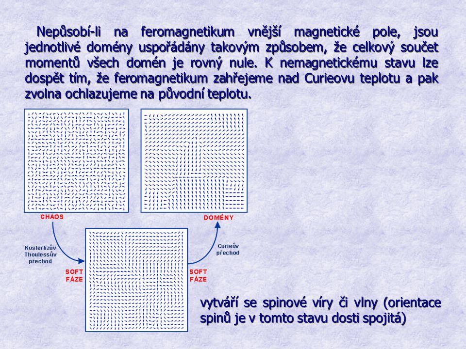 Nepůsobí-li na feromagnetikum vnější magnetické pole, jsou jednotlivé domény uspořádány takovým způsobem, že celkový součet momentů všech domén je rov