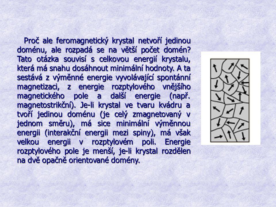 Proč ale feromagnetický krystal netvoří jedinou doménu, ale rozpadá se na větší počet domén? Tato otázka souvisí s celkovou energií krystalu, která má