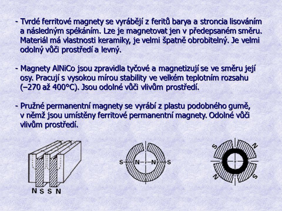 - Tvrdé ferritové magnety se vyrábějí z feritů barya a stroncia lisováním a následným spékáním. Lze je magnetovat jen v předepsaném směru. a následným