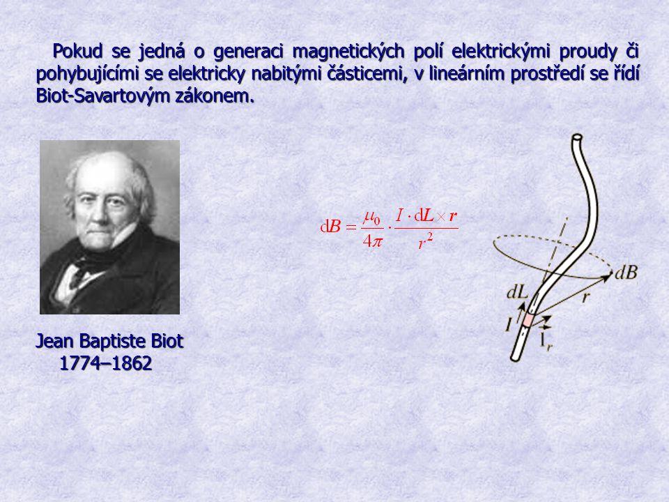 Pokud se jedná o generaci magnetických polí elektrickými proudy či pohybujícími se elektricky nabitými částicemi, v lineárním prostředí se řídí Biot-S