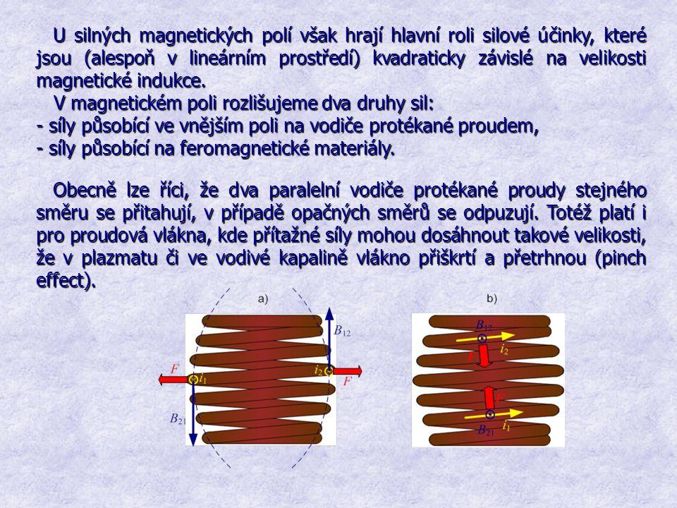 U silných magnetických polí však hrají hlavní roli silové účinky, které jsou(alespoň v lineárním prostředí) kvadraticky závislé na velikosti magnetick
