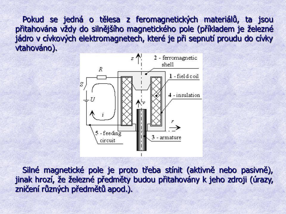 Pokud se jedná o tělesa z feromagnetických materiálů, ta jsou přitahována vždy do silnějšího magnetického pole (příkladem je železné jádro v cívkových