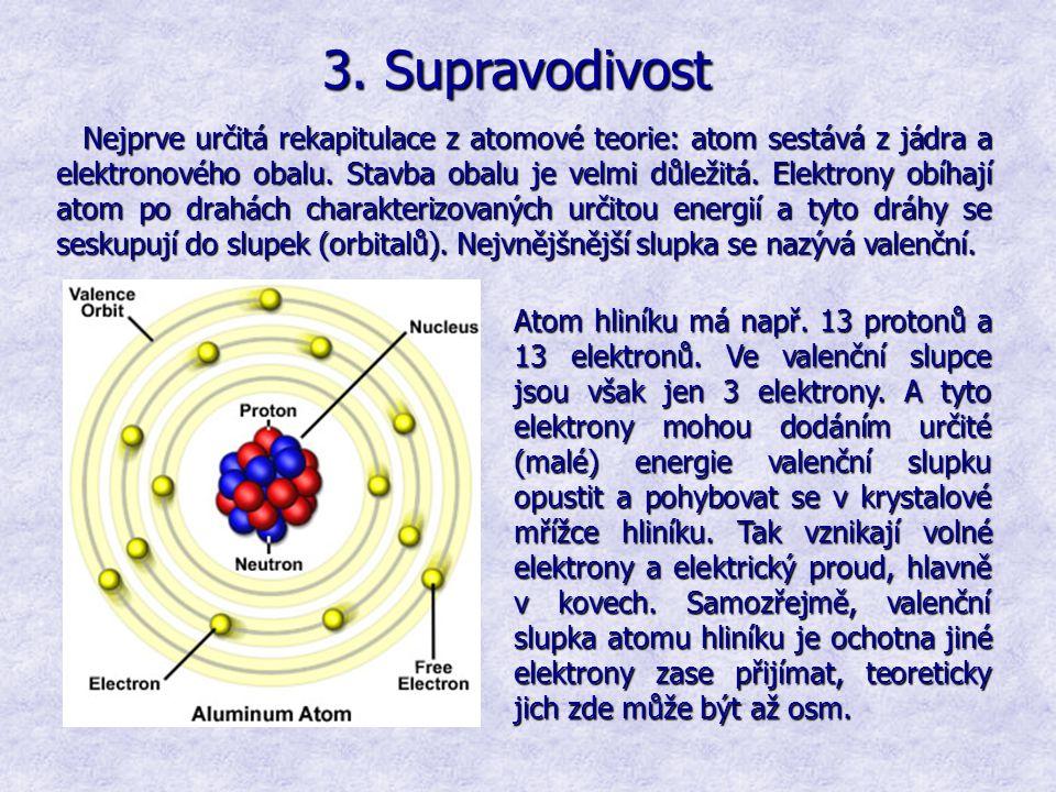 3. Supravodivost Nejprve určitá rekapitulace z atomové teorie: atom sestává z jádra a elektronového obalu. Stavba obalu je velmi důležitá. Elektrony o