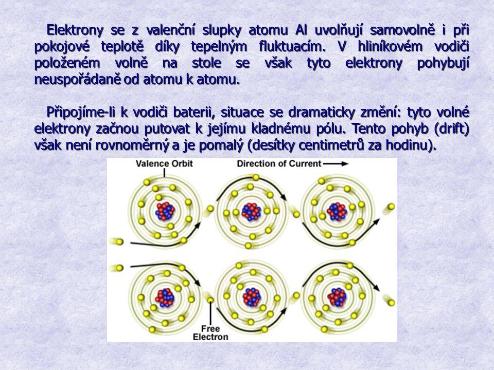 Elektrony se z valenční slupky atomu Al uvolňují samovolně i při pokojové teplotě díky tepelným fluktuacím. V hliníkovém vodiči položeném volně na sto